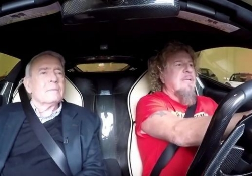 Dan Rather and Sammy Hagar driving in a La Ferrari