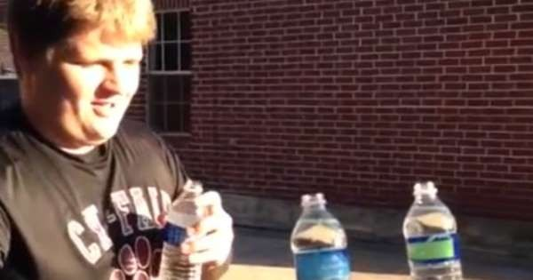 Texas Guy Chugs 3 Full Bottles Of Water in 5 Seconds