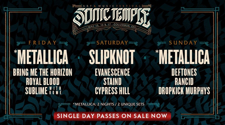 Sonic Temple 2020 Single Day Lineups On Sale Now
