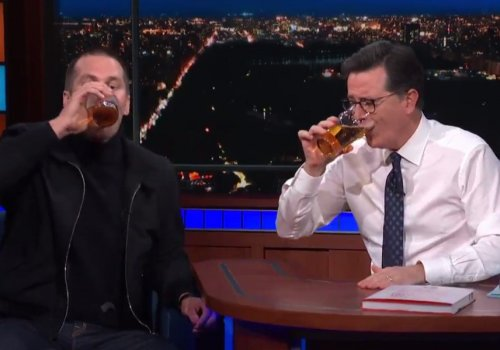 Tom Brady inhales beer, dusts Stephen Colbert in a chugging contest
