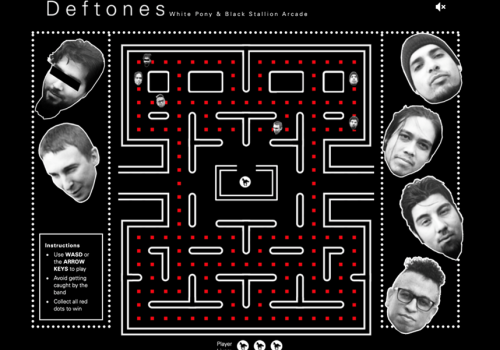 """Deftones updated and released their """"White Pony"""" Video Arcade Game Inspired by 'Pac-Man' and You can play it here with the chance to earn a bonus discount on merch."""
